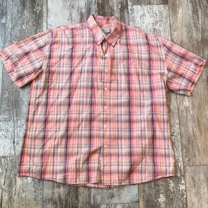 SUNRIVER RED ORANGE BROWN PLAID BUTTON UP XL